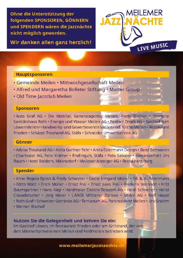 Sponsoren, Gönner und Spender - Meilemer Jazznächte